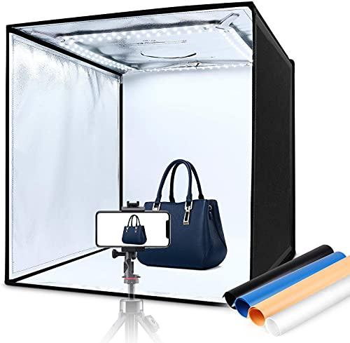 Caja de Luz 60x60x60cm, Iluminación LED 5000LM 5500K, Estudio Fotográfico Portátil Plegable, 3 Ventanas de Grabación, 4 Fondos (Azul, Blanco, Negro, Naranja), Cierre de Velcro