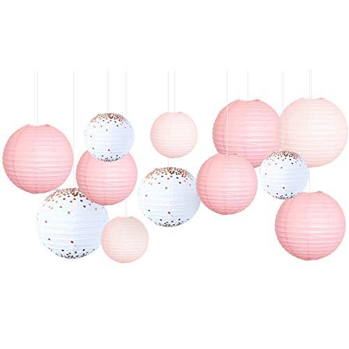 NICROLANDEE - 12 lanterne di carta glitterate bianche e dorate, ideali come decorazione per feste romantiche, ideali per matrimoni, laurea e baby shower, decorazioni di compleanno (rosa bianco)