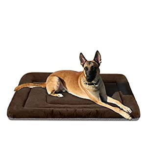 JoicyCo Large Dog Bed Washable Crate Pad Anti-Slip Mat 42 inch Soft Pet Beds Mattress Kennel Pads