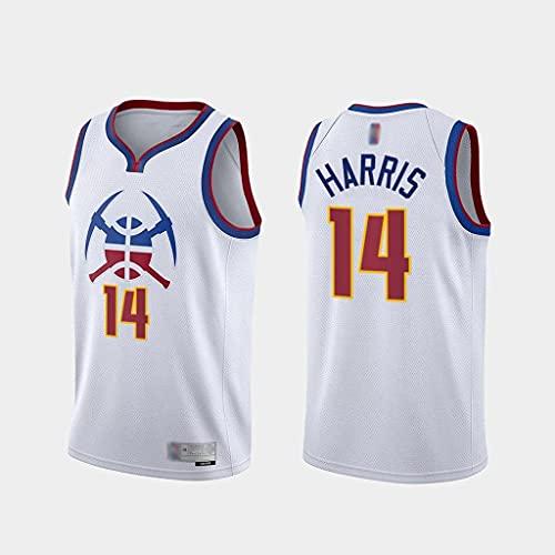 Jersey De Baloncesto para Hombre - NBA Denver Nuggets # 14 Gary Harris Jersey # Deportes Ocio Malla Sin Mangas Sin Mangas con Cuello En V,Blanco,XL(180~185cm)