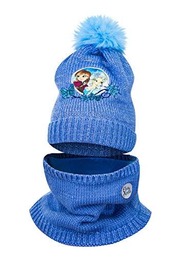Frozen - Die Eiskönigin ELSA Anna Mädchen Kinder Winter Strick Set 2 TLG. Bommel-Mütze und Schlauch-Schal Loop, Farbe:Blau, Größe:54