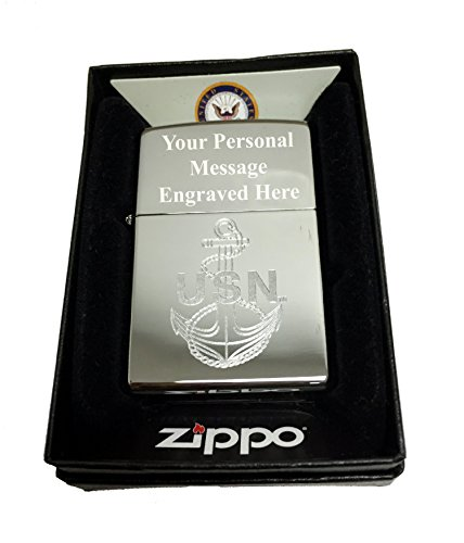 Zippo Custom Lighter - U.S. Navy Laser Engraving with Anchor Logo - Regular High Polish Chrome Free Engraving - Gifts for Him, for Her, for Boys, for Girls, for Husband, for Wife, for Them