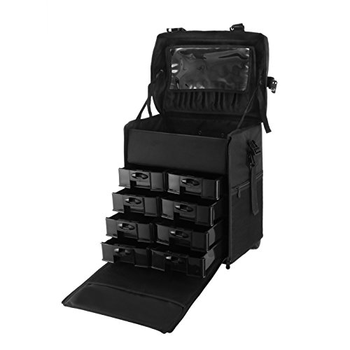 Ztopia Makeup Case SM805 Black Nylon Makeup Case 2 in 1 Professional Makeup Artist Rolling Trolley with Multiple Compartments and Lift Handle for Travel Luggage Cosmetic Cases (SM805)