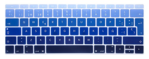 MMDW Spanish ESP Language Silicone Keyboard Cover Compatible with MacBook Pro 13 Inch 2017 & 2016 Release A1708 No Touch Bar & for MacBook 12 Inch A1534 Protective Skin (EU Layout),Ombre Blue