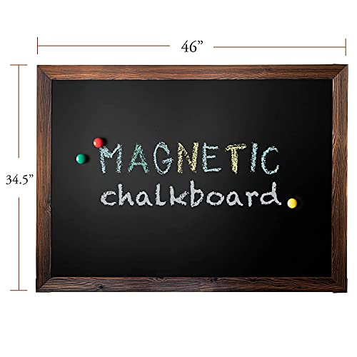 Loddie Doddie Magnetic Chalkboard - Easy-to-Erase Large Chalkboard for Wall Decor and Kitchen - Hanging Black Chalkboards (46x34.5, Rustic Frame)