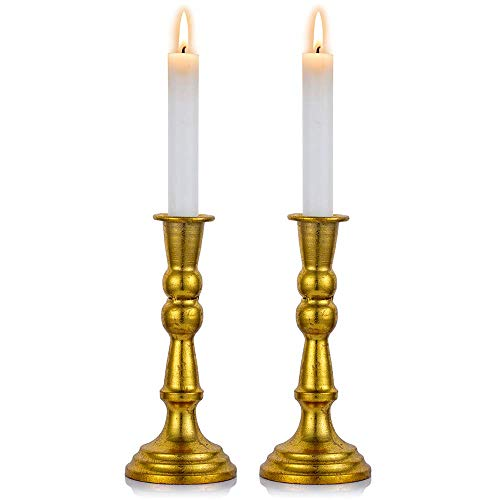 mxjxj Pcs of 2 Vintage Candlestick Holder Gold Taper Candle Holder Antique Candleholder Set, Fits 1 Inch Tapered Candles, for Window and Mantle Display Home Decor, S + S (Size : L+L)