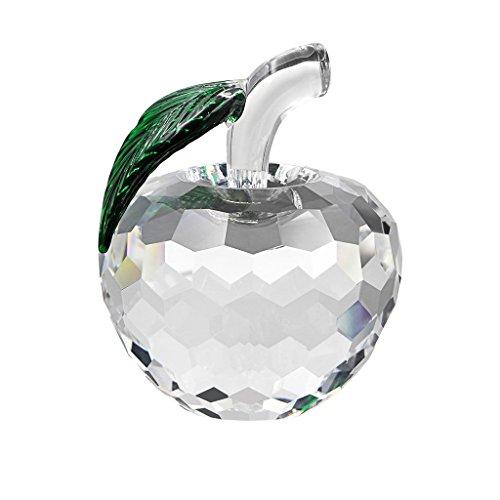 Sumnacon 幸運林檎 60mm クリスタル りんご ガラス置物 縁起物 風水 プレゼント (透明色)