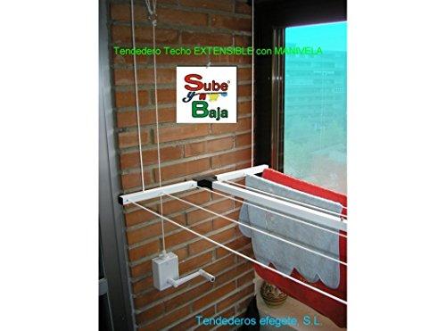 Tendederos Efegete Tenmvext - Tendedero techo manivela 110-170cm ext ac bl sube-baja efege