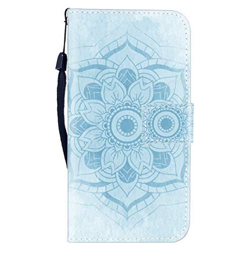Sunrive Hülle Für BQ Aquaris E5s/E5, Magnetisch Schaltfläche Ledertasche Schutzhülle Etui Leder Hülle Cover Handyhülle Tasche Schalen Lederhülle MEHRWEG(W8 Blaue Blume)