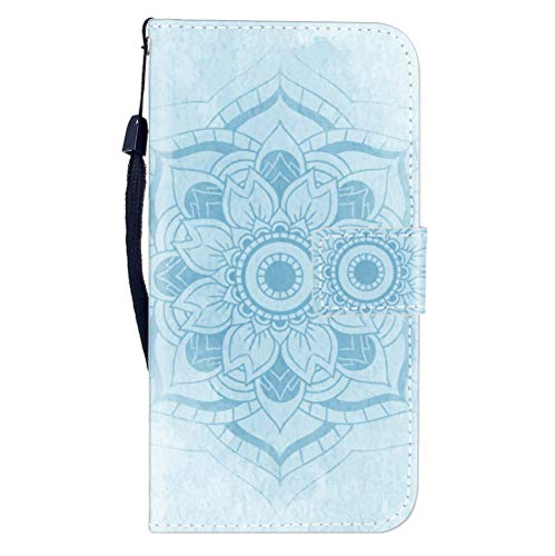 Sunrive Hülle Für Blackview A7/A7 Pro, Magnetisch Schaltfläche Ledertasche Schutzhülle Etui Leder Case Cover Handyhülle Tasche Schalen Lederhülle MEHRWEG(W8 Blaue Blume)