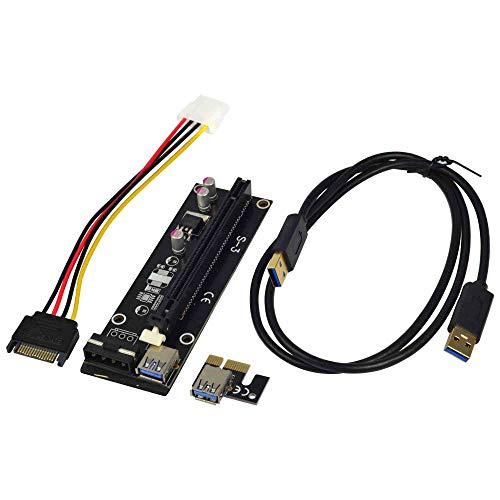 MENGS PCI-E 1x Express16x Adapter Riser Karte Erweiterung Powered USB 3.0-Kabel für Bitcoin Mining