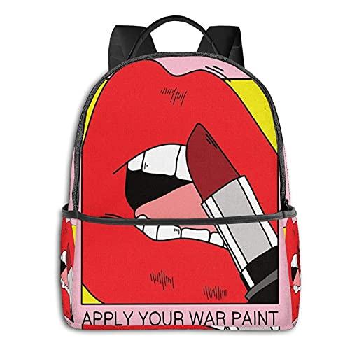QQIAEJIA Mochila de poliéster de moda Aplique su pintura de guerra Almohada para el suelo Todas las estaciones Unisex Mochilas diarias de gran capacidad duraderas para la escuela al aire libre