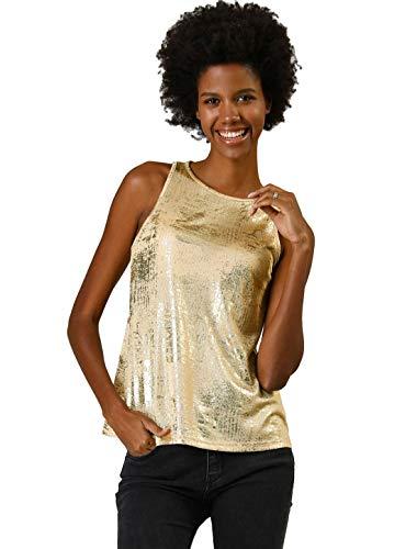 Allegra K Camiseta Sin Manga Brillante Metálico Camisola A-Línea Chaleco De Verano Club Fiesta para Mujeres Oro L