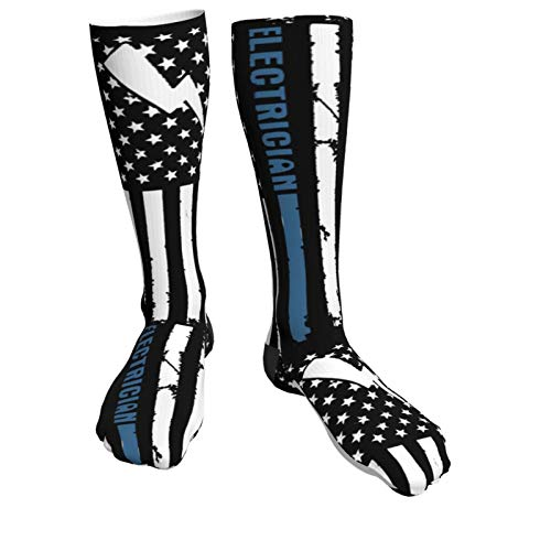 Product Image 1: Crew Socks Calf Socks Electrician With American Flag Casual Athletic Warm Thick Moisture Wicking Breathable for Men Sock