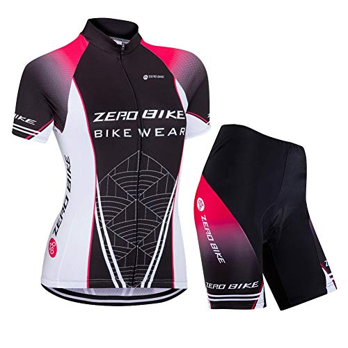 Damen Atmungsaktiv Schnelltrocknend Fahrradtrikot Set, Outdoor Kurzarm Radsport-Shirt + 3D Gel Gepolsterte Kurze Hose Fahrradhose (Schwarzes Netz, M)