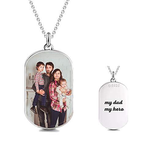 Collar con Etiqueta De Foto Personalizada De Plata 925 Collar con Colgante De Nombre Grabado Collar De Cumpleaños De Aniversario Simple Ideas para Mujeres Hombres(Plata-2-20)