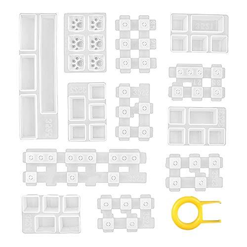 MiOYOOW Moldes de resina de silicona, moldes de epoxi de cristal de teclado hechos a mano para hacer herramientas para teclado mecánico