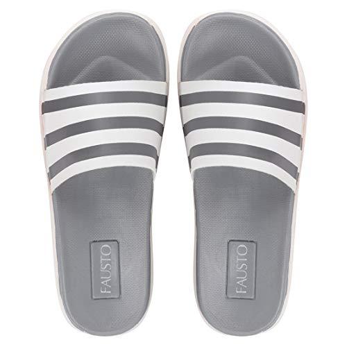 FAUSTO Men's Flip-Flops (FST KI-10015 GREY-42_Grey_8 UK)