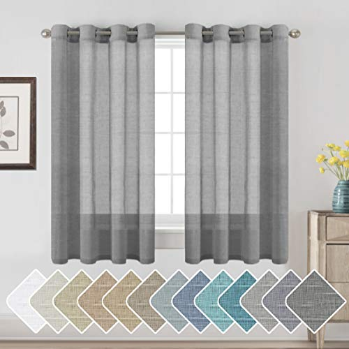 H.VERSAILTEX Butter Linen Curtain Panels for Small Window/Home Decorative Rich Natural Linen Sheer Curtains for Bedroom/Laundry - 2 Panels - Elegant Nickel Grommet Top - 52x63 - Inch