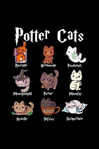 Potter Cats Cute Harry Pawter Kitten Gifts For Her Pullover Hoodie Notebook: Journal, Lined Notebook, 120 Blank Pages, Journal, 6x9 Inches, Matte Finish Cover