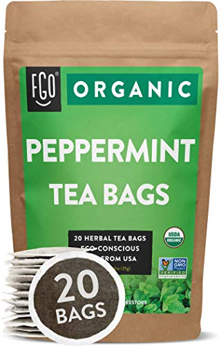 Organic Peppermint Tea Bags | 20 Tea Bags | Eco-Conscious Tea Bags in Kraft Bag | Raw from USA | by FGO