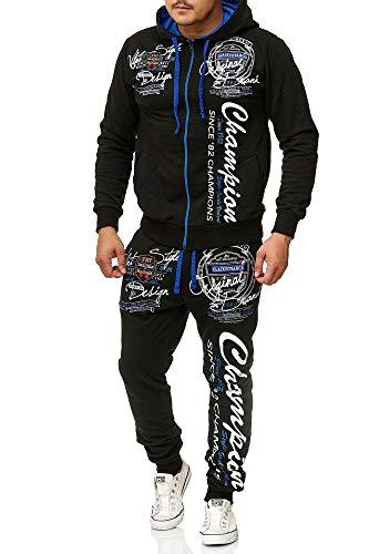 Herren Jogging-Anzug Champion Design, Trainings-Hose-Jacke-Anzug aus 100% Baumwolle, mit Kapuze und Rippstrickbündchen, von S bis XL (L-Slim, Schwarz/Blau)