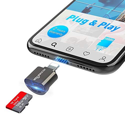 Lector de tarjetas Micro SD para i-phone / Pad, Aluminio a Lector de cámara de tarjeta Micro SD, Lector de tarjetas de memoria para cámara de juegos Trail para Micro SD /TF, Plug and Play-Negro