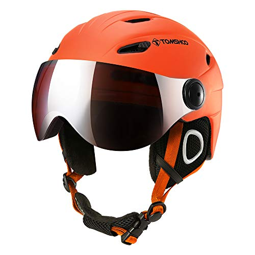 Casco de esquí, Casco de Seguridad Certificado Esquí Profesional Snowboard Casco de Deportes de Nieve Orejera Desmontable Gafas integradas/Sin Gafas (Naranja, L)