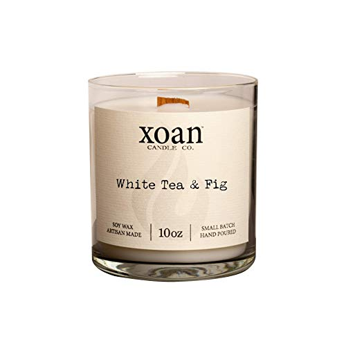 White Tea & Fig - Hand Poured Soy Wax Candle - Wooden Wick - 10oz