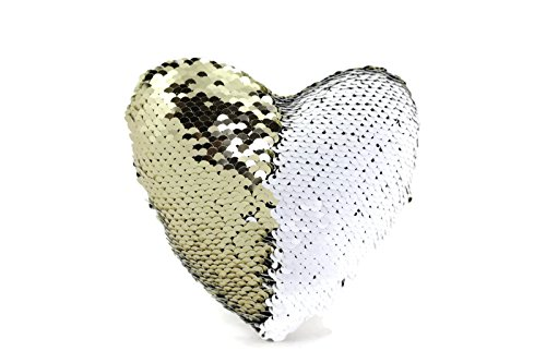 The Original Magic Flip Sequin Fidget Pillow - Gold & White Heart - Fidget Toy for Relaxing Therapy Increase Focus for Adults and Children Helps with Stress ADHD ADD Autism by Little Monkey 9H