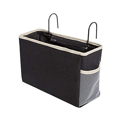 Jiyaru - Cesta de almacenaje para mesita de noche, de hierro y PE y tela, estantería para cama mixta, 30 x 11 x 19 cm, color negro