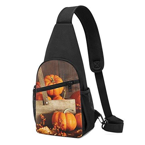 Mochila de hombro con estampado de calabaza, ligera, para viajes, senderismo, bolsa de hombro, color Negro, talla Talla única