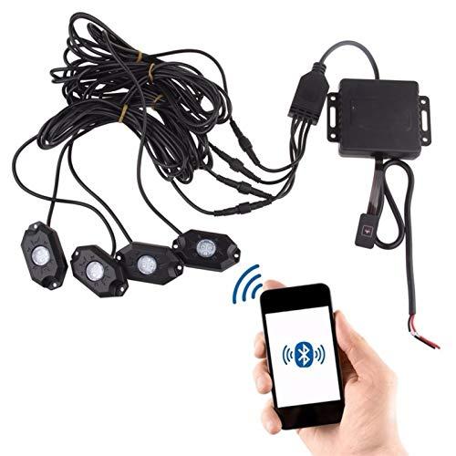 L.J.JZDY RGB LED Luces Kits de neón de Roca Control de Bluetooth Control de teléfono Celular bajo Autos Fuera de la Carretera Camión SUV para vehículos Barco Interior