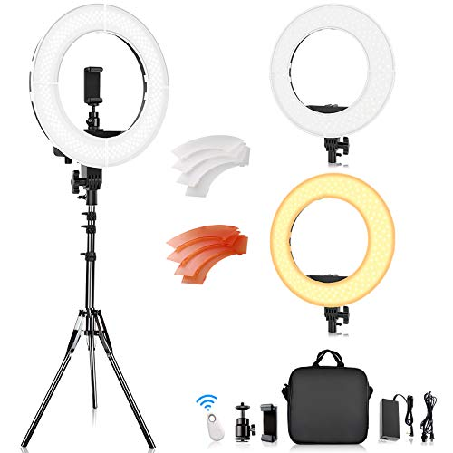 Ring Light, FOSITAN 14 inch LED Ring Light with Stand 5500K/3200K Dimmable LED Circle Lighting Kit with Bag for Camera Photo YouTube Vlog Makeup Video Shooting Salon Portrait Selfie
