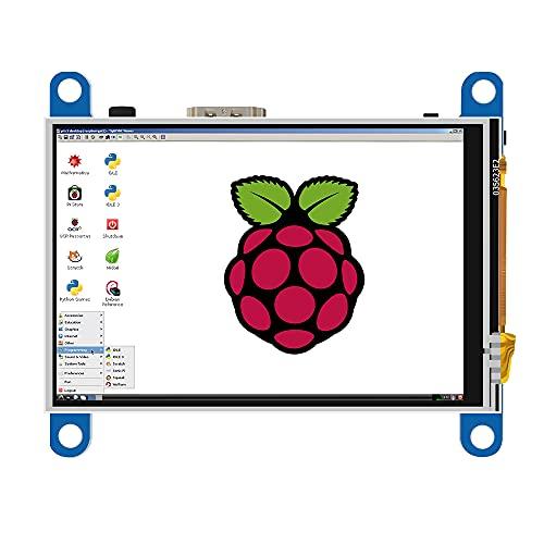 JniTyOpt 3,5 Zoll Bildschirm für Raspberry Pi 4 (kostenloser Treiber) HDMI-Schnittstelle Plug und Play TFT LCD Touchscreen Monitor 480x320 Auflösung Unterstützt Raspberry Pi 4 3 2 B B + A+ / Windows 10 8 7