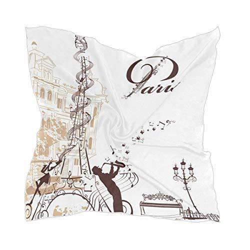XiangHeFu zijden sjaal halsdoek schaar hoofddeksel chiffon meisje hoofddoek Eiffeltoren versierd met muzikale duivenmusici
