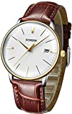 B BINGER Men's Japanese Movement Automatic Mechanical Watch with Curved Crystal Face