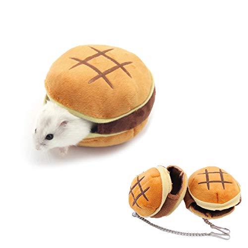 Hamster Guinea Pig Bed House,Cute Small Animals Hammock,Winter Warm Fleece Cage Nest for Rat Mice Sugar Glider Hedgehog Squirrel Bird Chinchilla,Pet Hamster Sleeping Accessories (Hamburger)