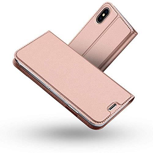 Radoo Funda iPhone XS MAX, Slim Case de Estilo Billetera Carcasa Libro de Cuero,Carcasa PU Leather con TPU Silicona Interna Suave [Función de Soporte] para Apple iPhone XS MAX 6.5 Pulgadas (Oro Rosa)