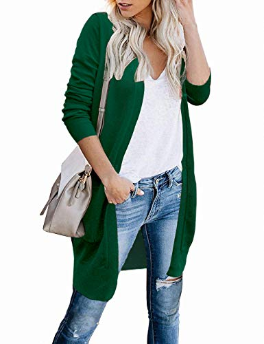 FOLUNSI Cardigans for Women Open Front Long Cardigan Sweaters with Pockets Green S