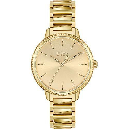 Hugo Boss Damen Analog Quarz Uhr mit Edelstahl Armband 1502541