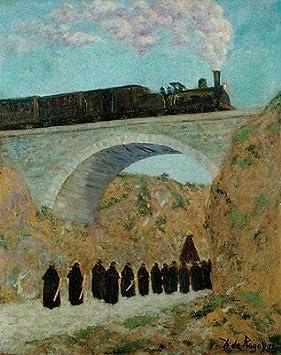 Kunstdruck Vendredi Saint en Castille Dario de Regoyos tren Lok Puente B A3 01364