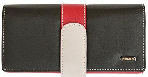 Felda - Damen Geldbörse aus Echtleder - 25 Kartenfächer - Groß - Schwarz Mehrfarbig