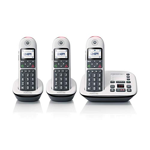 Motorola CD5013 DECT 6.0 Cordless Phone with Answering Machine, Call Block and Volume Boost, White, 3 Handsets