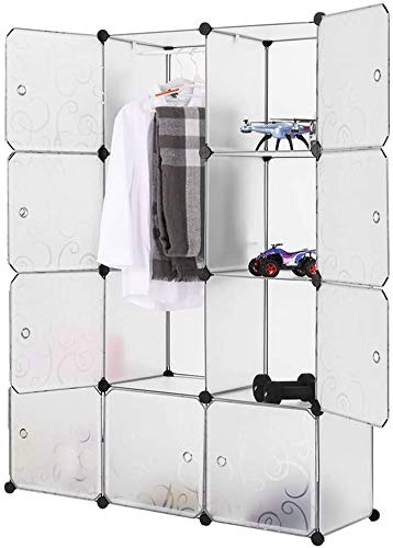 16 Cube Portable Wardrobe Clothes Closet Combination Armoire, Modular Cabinet for Space Saving Ideal Storage Organizer(White 12Cubes)