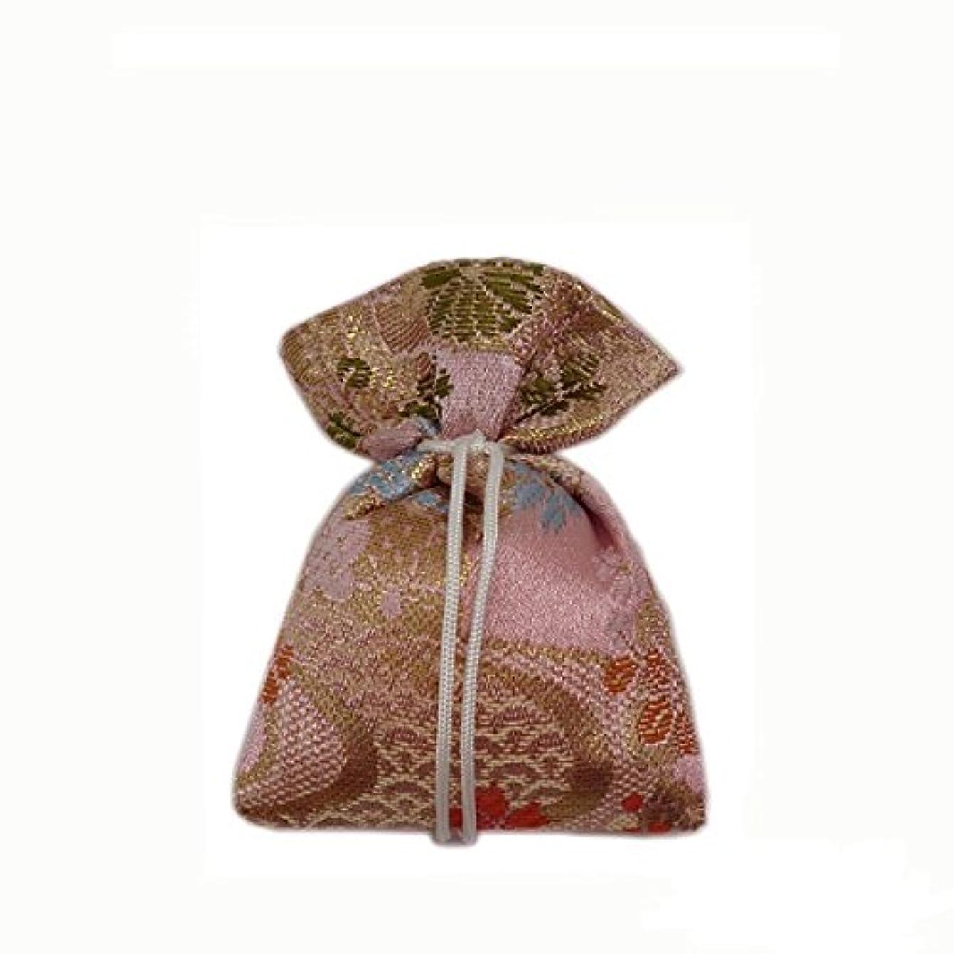 目に見える先生阻害する匂袋 巾着 金襴中 ピンク系