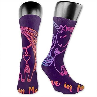 Anime calcetines Unicornio Dibujo Con Cita suave de secado rápido transpirable calcetines deportivos unisex de la tripulación calcetines de 39,7 cm