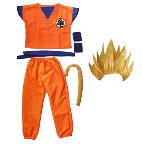 Frauen Männer Dragon Ball Z Anzug Goku Cosplay Kostüme Top/Hose/Gürtel/Schwanz/Handgelenk/Perücke Für Erwachsene Kinder