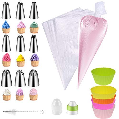 QAQGEAR Juego de boquillas para tuberías de 27 piezas: grandes boquillas rusas de acero inoxidable Bolsas de hielo, juego para hornear, herramientas de modelado.