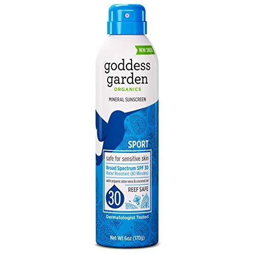 Goddess Garden - Sport SPF 30 Mineral Sunscreen Continuous Lotion Spray - Sensitive Skin, Reef Safe, Sheer Zinc, Titanium, Water Resistant, Non-Nano, Vegan, Leaping Bunny Cruelty-Free - 6 oz Bottle